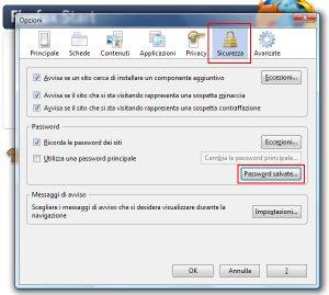 Sicurezza ==> Password salvate - Firefox