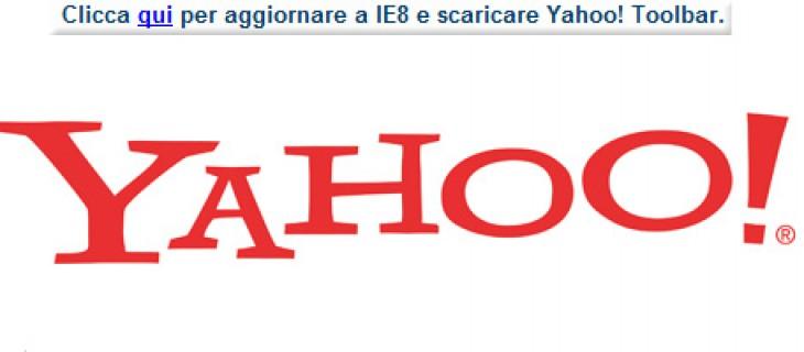 Yahoo! raccomanda l'uso di Internet Explorer 8