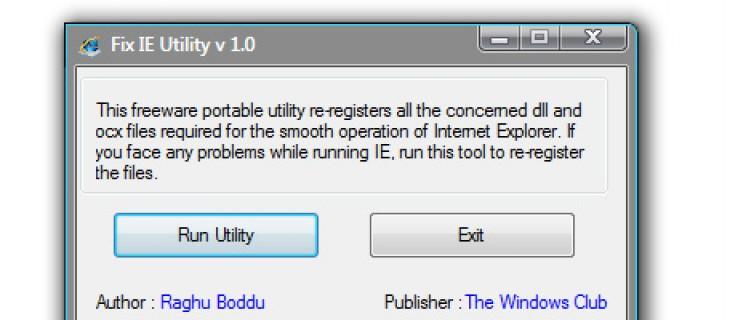 Fix IE Utility: strumento per riparare i files di Internet Explorer