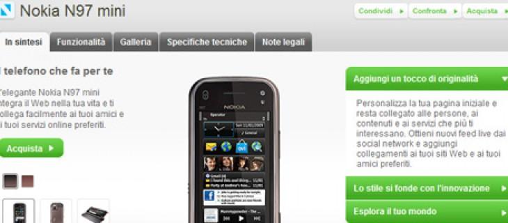 Nokia N97 mini in vendita sul Nokia Online Shop
