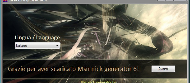 Msn nick generator 6: generatore di nick personalizzati per MSN