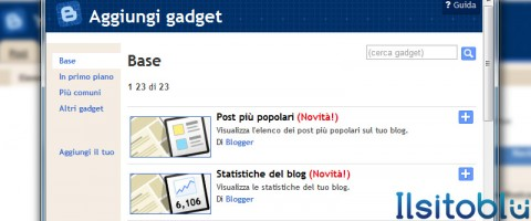 aggiungi gadget blogger