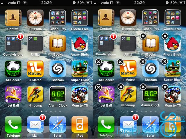 cancellare applicazioni iphone