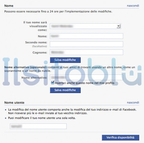 impostare nome facebook