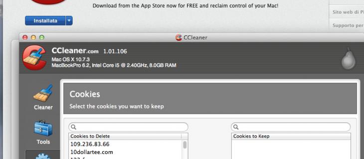 Ccleaner per Mac disponibile nell'App Store